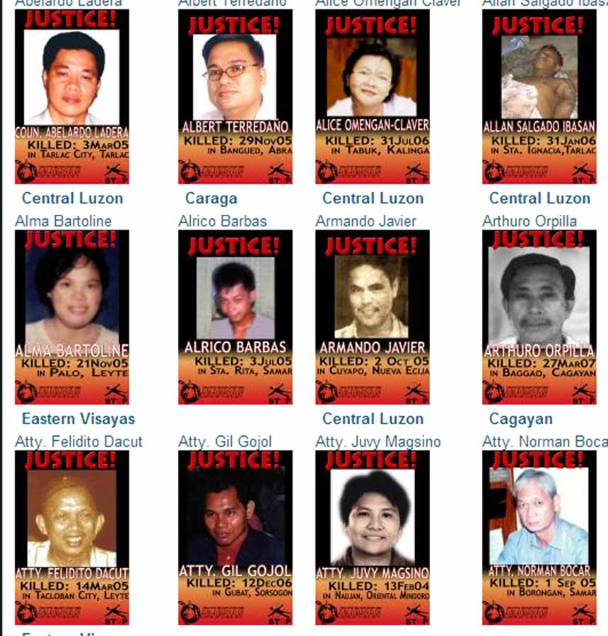 Posters showing some of the many human rights defenders murdered in the Philippines. Screenshot from the website for Karapatan, the Alliance for the Advancement of People's Rights.